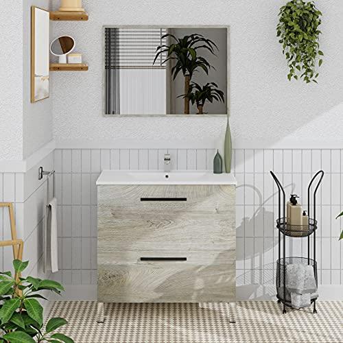 Crocket mueble baño Ailama con lavabo incluido y espejo - roble - 80 x 80 x 45