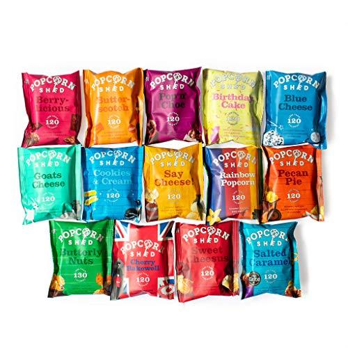 Popcorn Shed's Paquete degustación de una selección de palomitas gourmet (paquete de 14): El regalo perfecto de palomitas de maíz | Snacks naturales, sin gluten y vegetarianos