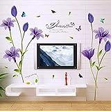 Wandsticker4U - Adhesivo decorativo para pared (160 x 85 cm), diseño de lirio de cala, color morado