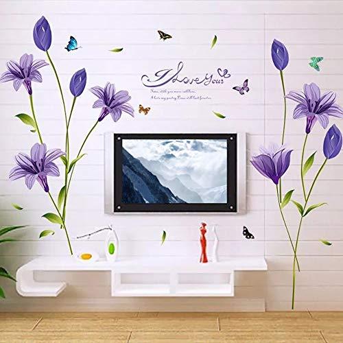 WandSticker4U®- Wandtattoo Blumen LILIE in Lila I Wandbilder: 160x85 cm I Wandsticker Lliy Blüten Schmetterlinge Aufkleber Pflanze I Wand Deko für Wohnzimmer Schlafzimmer Küche Bad Flur GROSS