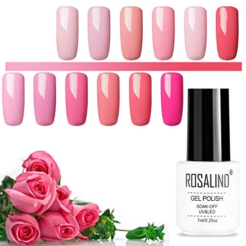 ROSALIND Gel-Nagellack-Set Rosa Serie UV-Nagellack, mehrfarbig, hochwertiger need Base und Überlack, Nail Salon-Sets 12 Packungen 7ml