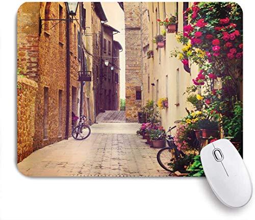 Mobeiti Gaming Mouse Pad, Stadtbild Straße in Pienza Toskana Italien mit hängenden Korb Pflanzen Blumen Fahrräder Bild rutschfeste Gummi Backing Mousepad für Notebooks Computer Maus Matten