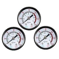 """バックマウント圧力計、0-180 psi/kPaデュアルスケール、1-25 / 64""""ダイヤルディスプレイ、空気圧縮機用1/8"""" NPTオス水油ガス3個"""