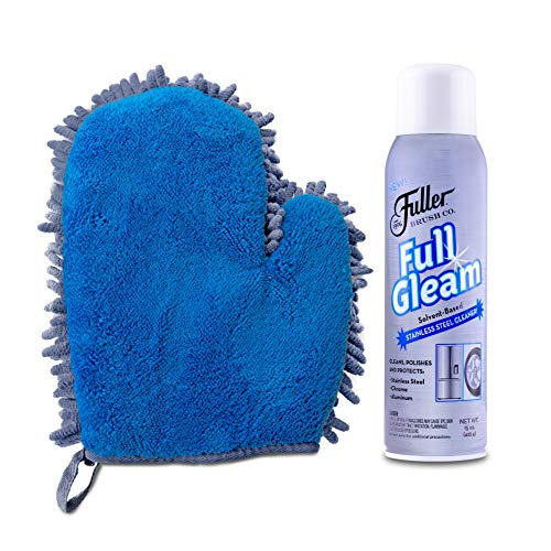 Fuller Brush Stainless Steel Easy Clean & Polish Kit – With 2-in-1 Microfiber Mitt + Full Gleam Stainless Steel Cleaner – For Appliances & Fixtures In Home & Business