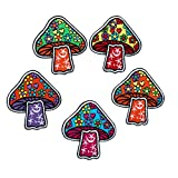 5 pcs Mushroom Patches for Clothing - Mushroom Iron on Patches for Jacket - Hippie Patches for Jeans - Aesthetic Patches for Clothing Trendy - Cute and Easy to Apply - Heart and Flower Style