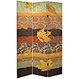 ORIENTAL Furniture Tall Double Sided October Gold Canvas Room Divider, 7'