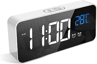 LATEC Réveil Numérique, Alarm Réveil LED avec Fonction Snooze, Charge des Ports USB (Blanc)