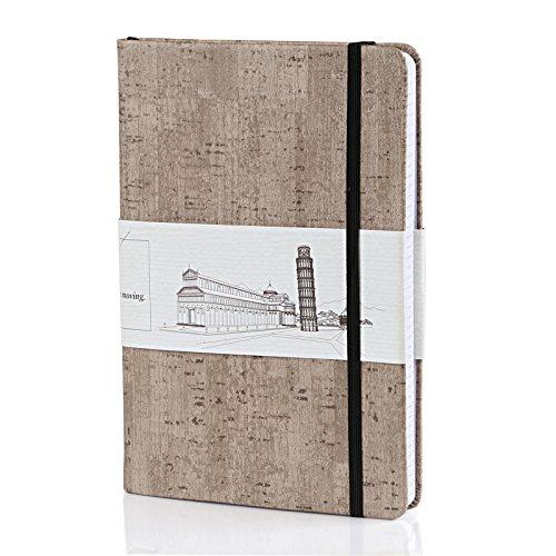 Kesote A5 Notizbuch Dotted Hardcover Leder mit Gummiband Lesezeichen Innentasche (200 Seiten, Grau)
