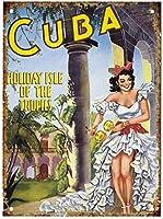 ナンシーグレートティンサインアルミキューバホリデーアイルオブザトロピックス屋外屋内サインウォールデコレーション