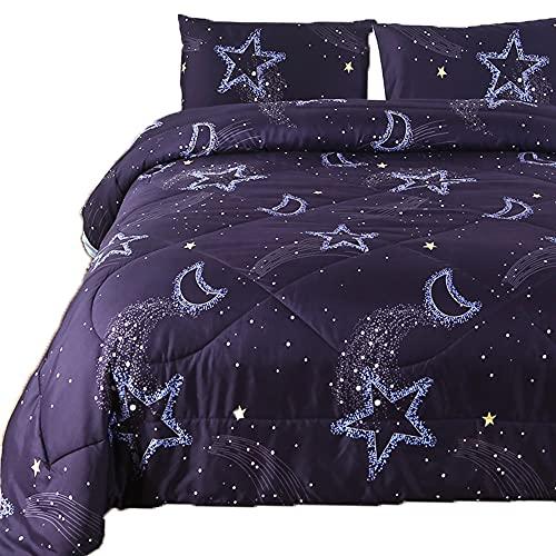 DECMAY 3PCS 3D Starry Sky Bedding Comforter Set Kids' Lightweight Comforter Alternative Duvet Insert Deep Blue Moon Star Night Twin Size Bedding for Girls and Boys Modern Design for Children Bedroom