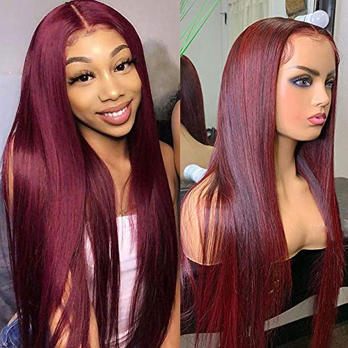 Pre Plucked Lace Front Wig - ORANGE STAR Pure 99j Human Hair Wigs With Baby Hair 13x4\