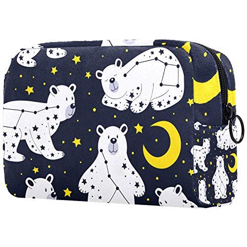 Trousse de toilette pour femme Motif constellations ours avec lune et étoiles