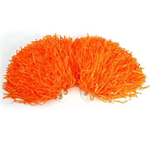 Alomejor 2 Stücke Cheerleading Pompons Cheerleader Sport Party Tanz Zubehör 8 Farben zu Wählen (Orange)
