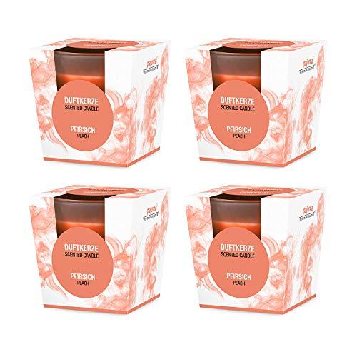 Pajoma geurkaars set van 4 perzik in gesatineerd glas, 124 g, brandduur: 25 uur, incl. mooie geschenkverpakking