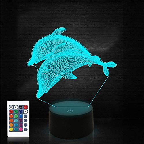 3D Illusion Light 3D Lamp Dolphin 16-Color Dimmable with Remote Smart Touch,Christmas and Birthday Gifts for Boys and Kids