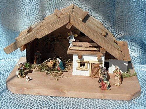 Arbrikadrex Verschiedene Weihnachtskrippen Holz Schreinerarbeit Douglasienholz Handarbeit Krippe mit und ohne Figuren Krippen-stall Weihnachten (Weihnachtskrippe, Helene mit Figuren)