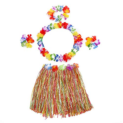 Venga amigos Set Costume Hawaiano Hula Gonna Erba con Fiori Leis Erba Gonna con Elastico Erba e Fiori Bracciali Fascia Collana per Fancy Dress Luau Spiaggia Tema Partito