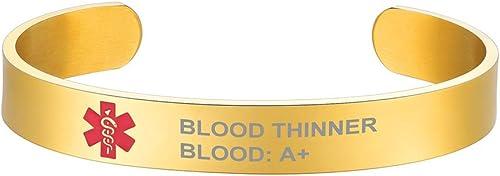 Supcare Cruz Roja Alerta Médica Personalizable Pulsera Medical de Identificación con Tag Acero Inoxidable Grabado Gra...