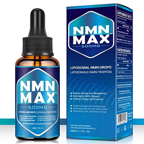NMN MAX Liposomale NMN-Tropfen, 500mg pro Tropfer(60ml) Nicotinamid Mononukleotid- NAD+, Hochdosiert, Nahrungsergänzungsmittel ohne Zusatzstoffe, vegan friendly (1 Bottle)
