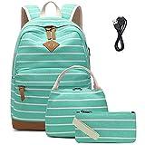Mochila Escolares Mujer Mochila de Lona Casual Backpack Laptop Mochila para Ordenador Portátil 15.6 Pulgadas, USB Charging Port