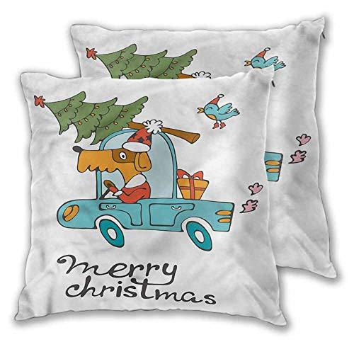 Xlcsomf Christmas Decorative pillowcase, 24 x 24 Inch Dog in Vintage Car Double-sided printing Christmas decoration Set of 2