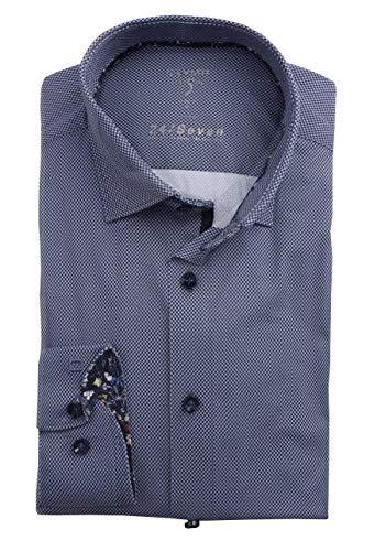 OLMYP Level Five Body fit - Camisa para hombre (manga larga, cuello de tiburón, estructura de color azul marino) azul marino 46