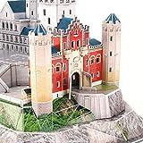 CJW 3D Rompecabezas Tridimensional Luces alemanes del Castillo de Neuschwanstein del Rompecabezas DIY cosidos a Mano Juguetes Modelo LED