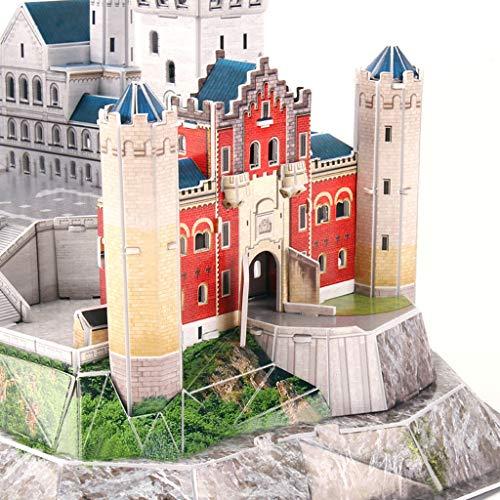 Rompecabezas Tridimensional Luces alemanes del Castillo de Neuschwanstein del Rompecabezas DIY cosidos a Mano Juguetes Modelo LED