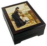 Caja de música para joyas / joyero musical de madera con reproducción de un cuadro famoso - Tristesse - Tristeza (Frédéric Chopin)