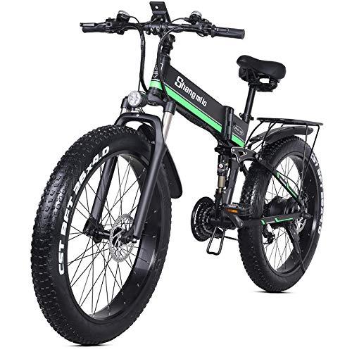 26 Pulgadas Plegable ciclomotor eléctrico 4.0 Grasa neumático eléctrico Nieve Bicicleta de montaña 48V12.8AH batería de Litio Scooter-Verde Negro
