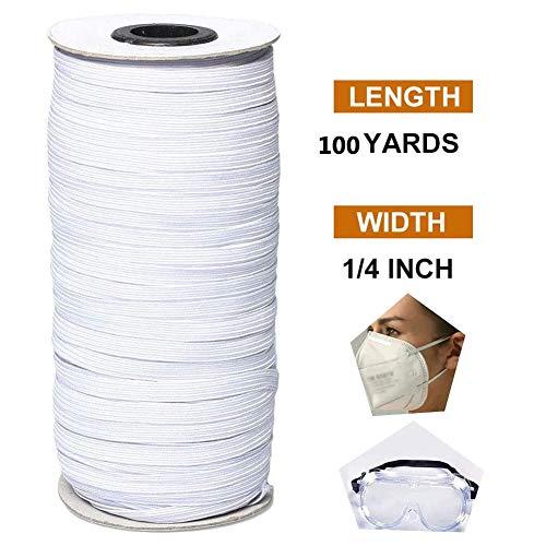 JYY 100 Yards geflochtenes Gummiband 1/4 Zoll Breite, elastische Schnur Schwere Stretch-Strickspule mit hoher Elastizität zum Nähen,White