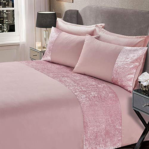 Sienna Crushed Velvet Panel Band Duvet Cover with Pillow Case Bedding Set - Blush Pink, Single