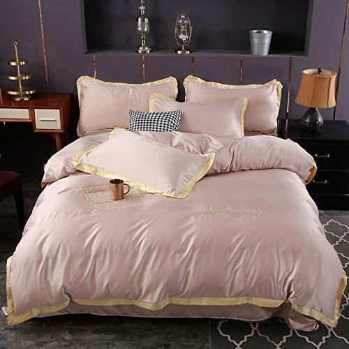 Funda nórdica y 2 Fundas de Almohada,Lavar las hojas de seda de Tweet se colocaron en una cama de cuatro piezas de cama de color sólido simple-Kk_1,5 m de cama (4 piezas) (20 series de 200 * 230)