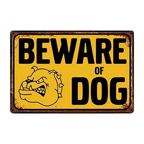 Cartel de metal para pared con texto en inglés «Warning Beware Of Dog», estilo vintage envejecido, para decoración de garaje