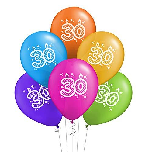 ocballoons 20 Palloncini Compleanno 30 Anni Biodegradabili Colorati in Lattice Kit Festa Addobbi Decorazioni Gonfiabili con Bombola Elio Scritta Made in Italy (30 Anni)