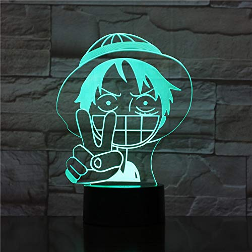 TYWFIOAV Lámpara de luz de Noche LED 3D de una Pieza Mono D Luffy Figura Dormitorio Base Decorada brillantemente Ambiente de Dormitorio de niño Regalo de Nacimiento de niño