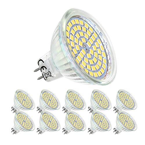10X Ampoule LED GU 5.3 Mr16 Blanc Neutre 4000K 5W Equivalent à 50W lampe halogène,AC/DC 12V,120° Angle,Non Dimmable