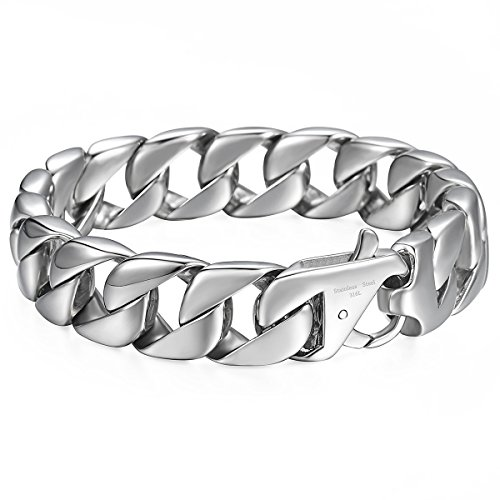 Trendsmax 15mm Curb Cuban Heavy Big Bracelet for Mens Boys 316L Stainless Steel Link Chain Bangle 9.52 inch
