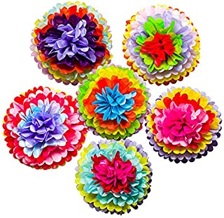 Mexican Fiesta Tissue Paper Pom Poms Flowers Rainbow Theme Party Supplies for Carnival Cinco De Mayo Wedding Birthday Deco...