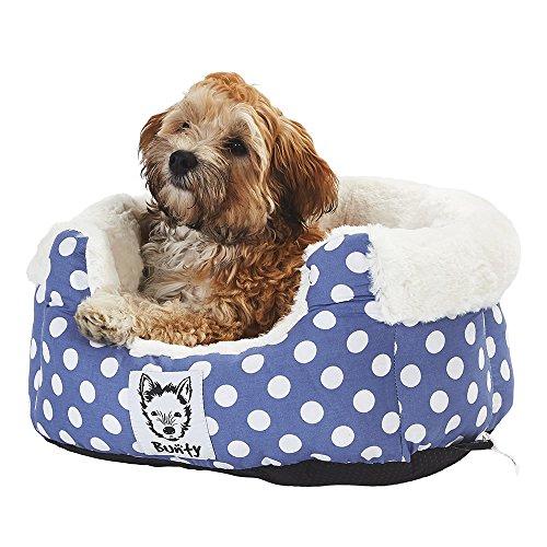 Bunty Deep Dream - Cama para Perro (Forro Polar, Lavable, tamaño pequeño), diseño de Lunares, Color Azul