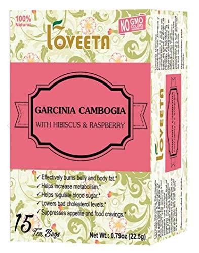 Loveeta Wellness Garcinia Cambogia Tea Raspberry & Hibiscus - 15 Tea Bags (Gmo Free, Gluten Free, Dairy Free, Sugar Free & 100% Natural)
