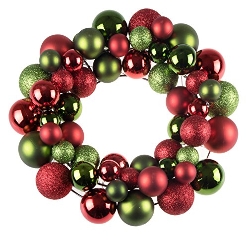 Clever Creations Christmas Ornament Wreath Bright Red & Green | Festive Holiday...