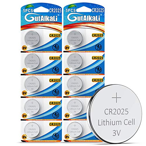 GutAlkaLi 10 Stück CR2025 3V Batterien Lithium Knopfzellen Elektro CR 2025 Lithium
