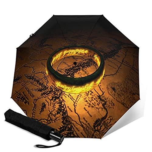 Señor Anillos logo signo paraguas automático triple plegable paraguas viaje sombrilla portátil con mango adulto niños unisex