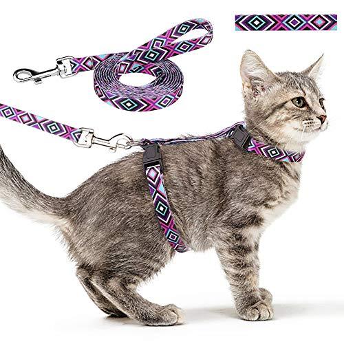 Jamktepat Cat Harness and Leash Set Geometric Pattern Escape Proof Adjustable for Kitty Outdoor Walking(Purple)
