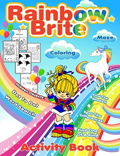 Rainbow Brite Activity Book: Premium Adult, Kid One Of A Kind, Find Shadow, Word Search, Spot Differences, Hidden Objects, Maze, Dot To Dot, Coloring Activities Books Color To Relax
