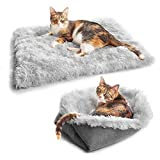 Aebor Furry Self Warming Cat Bed Mat for Cats Small Dogs,Function 2 in 1 Soft Plush Blanket for Indoor Cats Dogs Fluffy Pet Bed