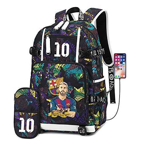 Csfssd La estrella de fútbol movimiento estudiantil bolsa de entrenamiento bolsa de hombro de gran capacidad impermeable mochila estudiantes varones viajan del bolso del bolso de carga USB Jamboree, e