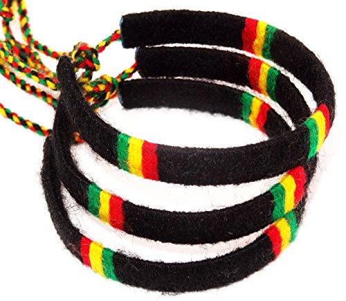 Lote de 3 pulseras brasileñas de la amistad, macramé de algodón Friendship, juego de amuleto, amuleto, de la suerte, Reggae, Bob Marley, Jamaica, color negro
