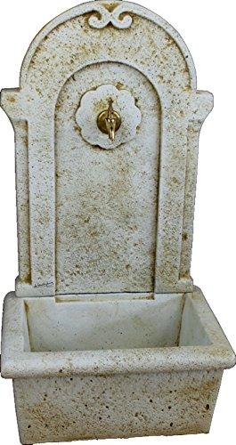 DEGARDEN Fuente de Pared para Jardín o Exterior de hormigón-Piedra Artificial | Fuente de Agua de hormigón-Piedra 50 x100cm. | Fuente Exterior con Grifo Color Ocre